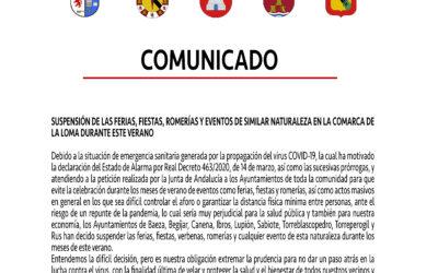 COMUNICADO SUSPENSIÓN  DE LAS FERIAS, FIESTAS, ROMERÍAS Y EVENTOS DE SIMILAR NATURALEZA EN LA COMARCA DE LA LOMA