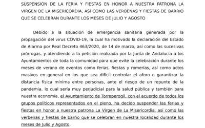 Comunicado Suspensión Feria y Fiestas 2020