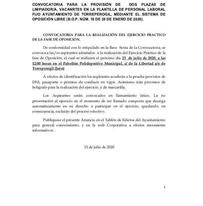 CONVOCATORIA PARA LA PROVISIÓN DE DOS PLAZAS DE LIMPIADOR/A, VACANRTES EN LA PLANTILLA DE PERSONAL LABORAL FIJO AYUNTAMIENTO DE TORREPEROGIL, MEDIANTE EL SISTEMA DE OPOSICIÓN LIBRE (B.O.P. NÚM. 18 DE 28 DE ENERO DE 2020).