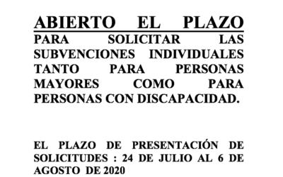 ABIERTO EL PLAZO PARA SOLICITAR LAS SUBVENCIONES INDIVIDUALES TANTO PARA PERSONAS MAYORES COMO PARA PERSONAS CON DISCAPACIDAD.
